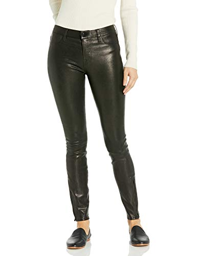 31LMNOaR27L Mid rise skinny pant in leather with tonal stitching Zipper detail