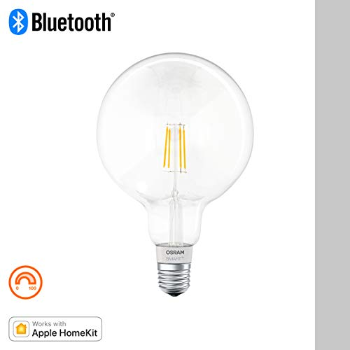 OSRAM Smart+ Ampoule LED à Filament Connectée - Culot E27 - Forme Globe - Dimmable - Blanc Chaud 2700K - 5,5W (équivalent 50W) - Bluetooth - Compatible Siri sur Apple & Alexa sur Android