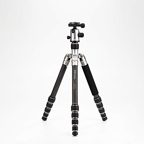 "MeFOTO GlobeTrotter 64.2"" Carbon Fiber Travel Tripod/Monopod w/Case, Twist Locks, Dual Action Ballhead w/Arca Swiss Plate for Mirrorless/DSLR Sony Nikon Canon Fuji - Titanium (C2350Q2T)"