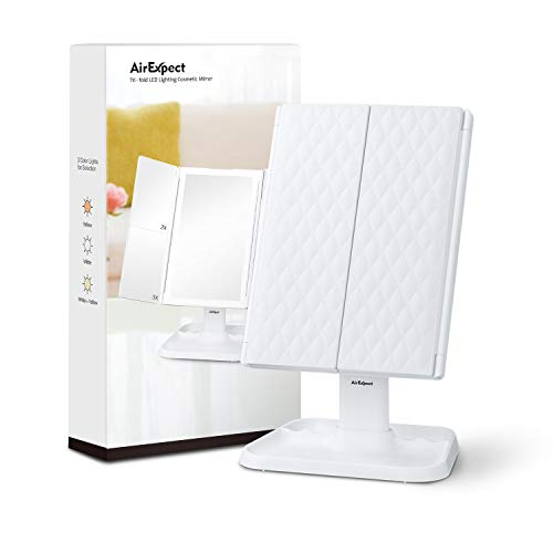 AirExpect Makeup Mirror Vanity Mirror with Lights - 3 Color Lighting Modes 72 LED Trifold Mirror, Touch Control Design, 1x/2x/3x Magnification, Portable High Definition Cosmetic Lighted Up Mirror 6