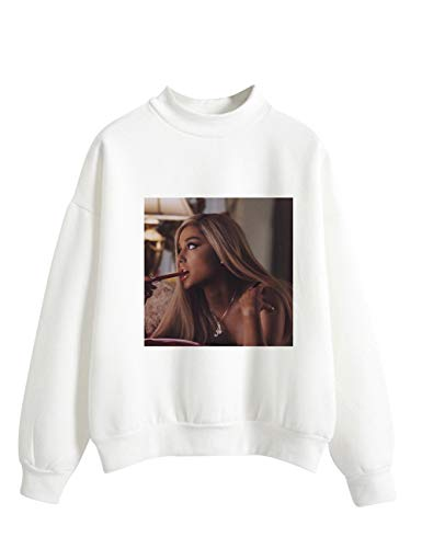Ariana Grande Sweatshirt for Women,Trend Singer Ariana Grande Thank you, Next Sweatshirt Pullover Solid Color Print of Letters Sweater Hoodie Long Sleeve for Girl Woman (White,S)