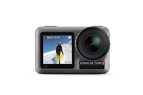 DJI Osmo Action Cam, Camera Digitale con Doppio Display, Fino a 11 m, Resistente all'Acqua, Foto e Video in 4K HDR, 12MP, 145 Camera Angolare, Nero