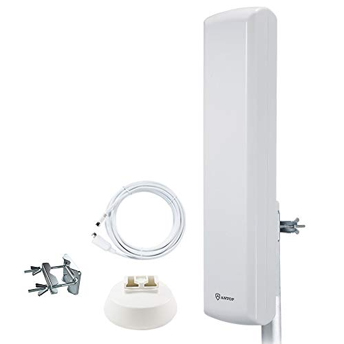 ANTOP HDTV Antenna, Flat-Panel TV Antenna with High Gain 60 Miles Range Multi-Directional Reception, Enhanced VHF & UHF Signals, Tools-Free Installation, Anti-UV Coating and 40ft Coaxial Cable AT-402