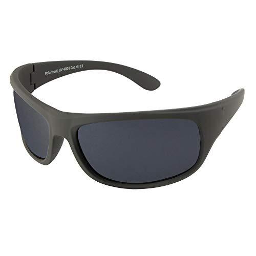 Gafas de Sol polarizadas EREBOS | Cat. 4 Especialmente oscuras | Protección UV 400 | para Sol Extremo: montaña y mar | En Caso de fotofobia | 24 g (Antracita | Cristales Negros | Tinte Gris)