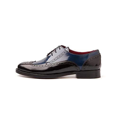 Beatnik Shoes Zapatos de Cordones Estilo Oxford Blucher Bicolores Negros y Azules de Mujer en Piel Beatnik Ethel Black & Blue, Talla : 35