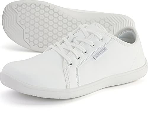 WHITIN Cuero Zapatillas Minimalista de Barefoot Trail Running Invierno Deportes Deportivas para Hombre Zapato Cordones Descalzo Correr Sneakers Fitness Gimnasio Calzado Asfalto Tenis Blanco 40
