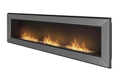 Dumas Bioethanol Wall Fireplace 180 x 49 cm Frame 1800 Stainless Steel