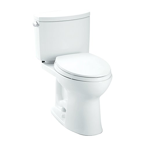 Toto K-CST454CEFG#01 Drake II 1.28 GPF Elongated Toilet with Slow Close Seat, Cotton, 2-Piece