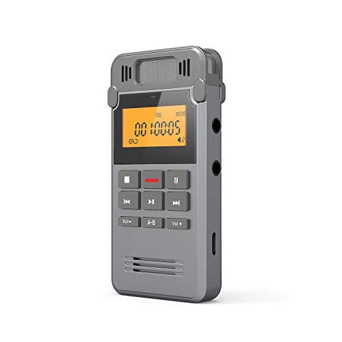 Dictaphone Enregistreur, ieGeek 8G Portable Rechargeables Enregistreur Numérique Audio en Metal Shell avec Double Micro Enregistrement Clair, Voix Activée, Connexion PC, MP3, Disque Flash USB Stocké
