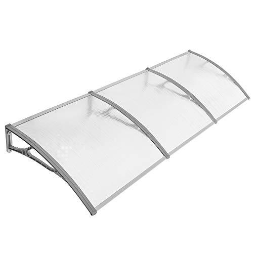 SONGMICS Marquesina de policarbonato, Toldo para puerta, 275 x 90 cm, Cubierta de lluvia para ventana del balcón, Transparente y Gris GVH279