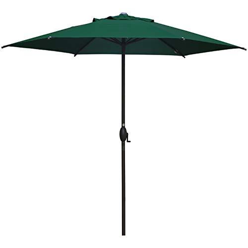 Abba Patio 9ft Patio Umbrella Outdoor Umbrella Patio Market Table Umbrella with Push Button Tilt and Crank for Garden, Lawn, Deck, Backyard & Pool, Dark Green
