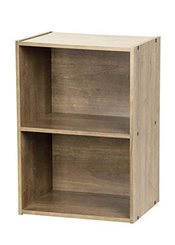 Iris Ohyama Basic Storage Shelf CX-2 Mobile Contenitore/Scaffale Modulare, 2 Scomparti, Engineered Wood, Marrone (Cenere), L41.4 x P29 x H59.2 cm