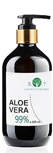 Gel di Aloe Vera Fresca 99% 500 ml. Doposole, Antibatterico, Antisettico, Idratante, Dopobarba. Aiuta in caso di Prurito del Cuoio Capelluto, Forfora, Acne, Cicatrici, Pelle Secca