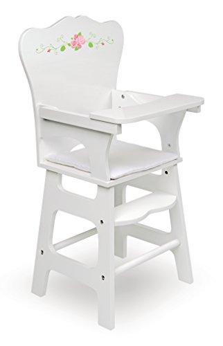 Badger Basket White Rose Doll High Chair (fits American Girl Dolls), White