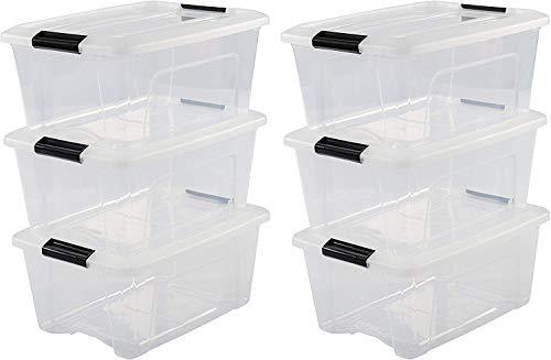 Iris Ohyama New Top Box NTB-15 - lote de 6 cajas apilables de almacenamiento, Transparente, 15 L