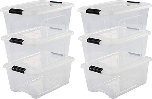 Iris OHYAMA stapelbare Aufbewahrungsboxen mit Klickverschluss, Plastik, transparent Deckel, 15L, 6er Set