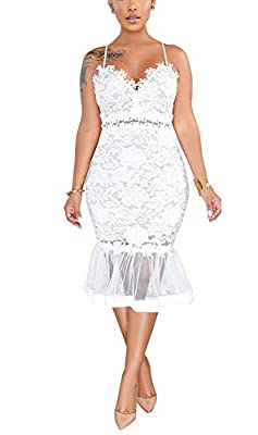 Please Select ONE SIZE Larger If You Are Plump, Slect NORMAL SIZE If You are Thin. Retro strap sleeveless backless floral lace cut out see through mermaid cocktail pencil dress. Fabric material: Made of polyester and lace, comfy and breathable lightw...