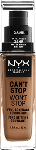 NYX PROFESSIONAL MAKEUP Can't Stop Won't Stop Full Coverage Foundation Makeup, Caramel, 1 Fl Oz