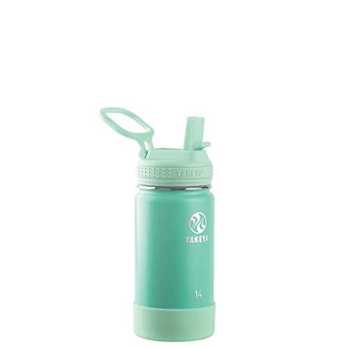 Takeya Kids Insulated Water Bottle w/Straw Lid, 14 oz, Seafoam
