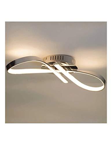 KOSILUM - Plafonnier LED design ruban infini chrome - Acht - Lumière Blanc Chaud Eclairage Salon Chambre Cuisine Couloir - 15W - 1200 lm - LED intégrée - IP20