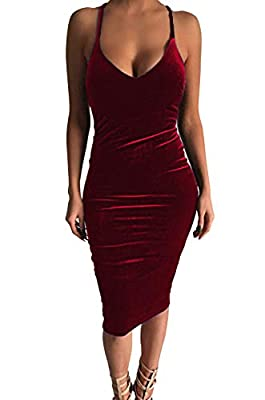 Spandex Velvet Material,with Good elasticity Design:Back Cross Bandage, Spahetti Straps, Sleeveless Suitable for club,party,cocktail and daily wear Please check the size detail below before purchase Free shipping by USPS which takes 8-15 days for del...