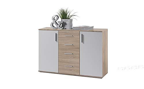 AVANTI TRENDSTORE - BEA - Com in Legno Laminato e Bianco, Disponibile in 2 Diversi Colori e Dimensioni (120x82x35 cm, Marrone-Bianco)