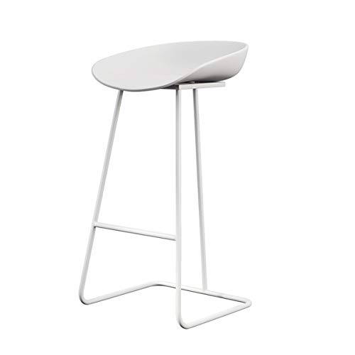White Barstools Modern Contemporary Counter Height Armless Bar Stools with Metal Legs Ergonomics Plastic Seat Office/Pub/Bistro/Kitchen/Dining Chair (1pcs,Set of 2)