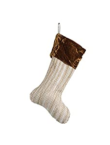 The perfect stocking to decorate your fireplace mantel Soft brown & white stripes are enhanced with a luxurious brown velvet cuff White fabric loop for hanging It will be the first thing the children grab on Christmas morning