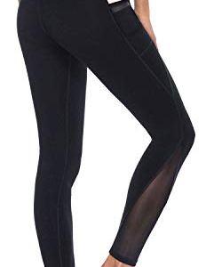 AFITNE Women's High Waist Mesh Yoga Leggings with Side Pockets, Tummy Control Workout Squat-Proof Yoga Pants 6