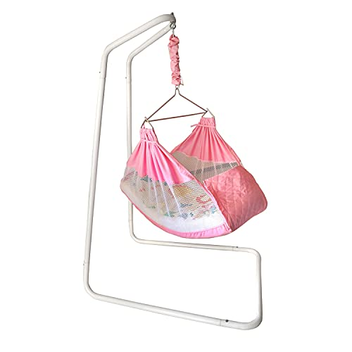 Kidzy King Baby Hammock-Pink with Stand, Spring Set and Mosquito Net. Premium Luxury Baby Cradle for...