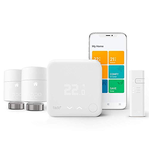 tado° Smart Thermostat - Starter Kit V3+ with Two Add-on Smart Radiator Thermostats for Multi-Room Control, Works with Amazon Alexa, Apple HomeKit, and The Google Assistant
