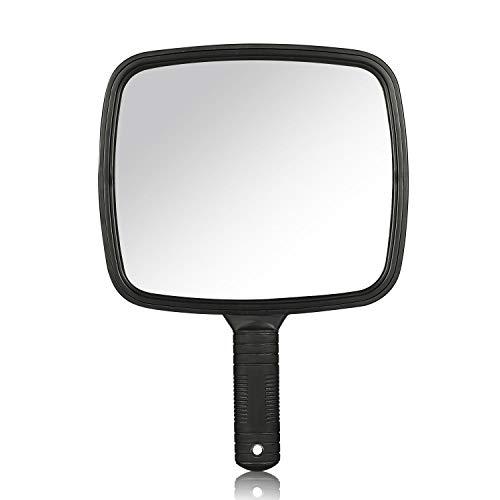 AYPOW Handspiegel,Friseur Rasieren Make-up Handspiegel mit größerer Sicht, Einfacher Spiegel für Friseure,Rutschfester Griff & Hängendes Loch