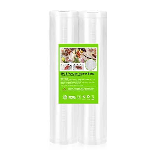 OMBAR Sacchetti Sottovuoto Alimenti per Macchina Sottovuoto, 2 Rotoli Sacchetti Goffrati, per Conservazione Alimenti e Cottura Sous Vide, senza BPA (20 * 600CM)