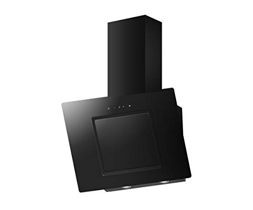 PKM S26-50BBTY - Cappa da parete in vetro nero / 50 cm / illuminazione a LED / senza testa aspirante