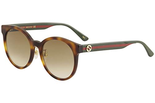 31MuO8A9vDL Brand: Gucci Model: GG0416SK Style: Fashion Round Frame/Temple Color: Havana/Green/Red - 005 Lens Color: Brown Gradient Size: Lens-55 Bridge-20 Temple-145mm