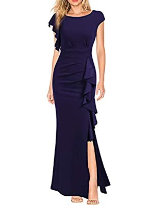 Polyester/Spandex,Fabric is Elasticity,Stretchy,Comfortable A-Line,Bodycon,Wrap Waist,Split Mermaid Hem,Ruffle,Solid Color,Long Length, Perfecyly Fit For All The Occasions--Formal, Evening Prom, Party, Wedding, Cocktail, Night Club, Dating, Vacation,...
