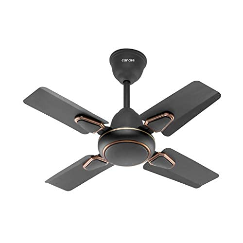 Candes Brio Turbo 600 mm / 24 Inch High Speed 4 Blade Anti-Dust Ceiling Fan Suitable for Kitchen / Veranda / Balcony / Small Room (Pack of 1,Smoke Brown)
