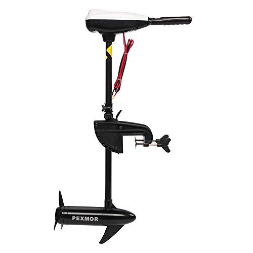"""PEXMOR 46LBS Thrust Saltwater Transom Mounted Electric Trolling Motor w/LED Battery Indicator 8 Variable Speed for Inflatable Boats, Jon Boat, Pontoon Fishing Boat (30"""" Shaft)"""