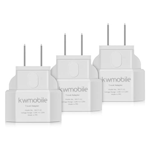 kwmobile 3X Reiseadapter USA Typ-A - Eurostecker Reise Adapter zu Typ A Steckdose in z. B. USA Kanada Mexiko Japan - Stromadapter Urlaub Weiß