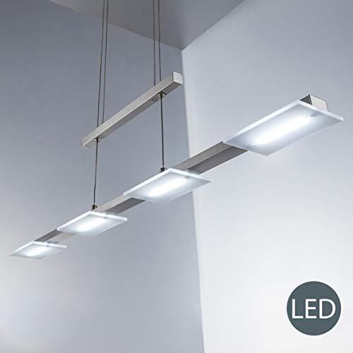 B.K.Licht I LED Pendelleuchte inkl. 4x 4W Platinen I 330lm I Höhenverstellbar I 3.000K warmweiß I Länge: 87cm I Echtglas I Matt-Nickel