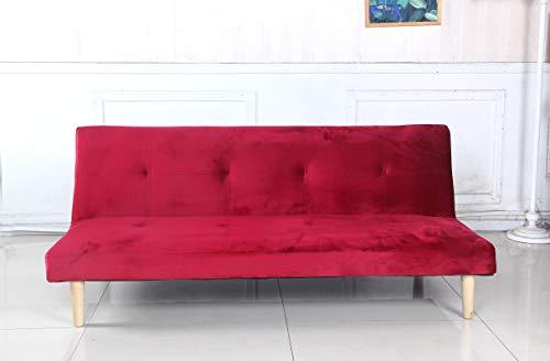 arredo Divano Letto Sofa Monos clic clac Tessuto Velluto Reclinabile 3 Posti (Rosso)