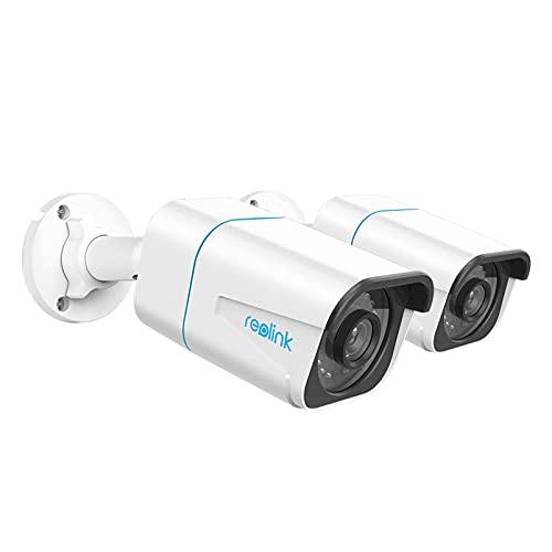 Reolink 2 Pezzi 4K Telecamera PoE Esterno Bullet con Rilevamento di Persone/Veicoli, Videosorveglianza con Time-Lapse, impermeabile IP66, Visione Nottura IR, Audio e Slot per Scheda Micro SD, RLC-810A
