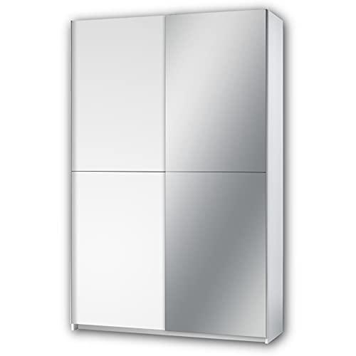 Stella Trading FAST-Armadietto elegante specchio e ampio spazio di archiviazione, versatile armadio con ante scorrevoli in bianco, 125 x 195 x 38 cm