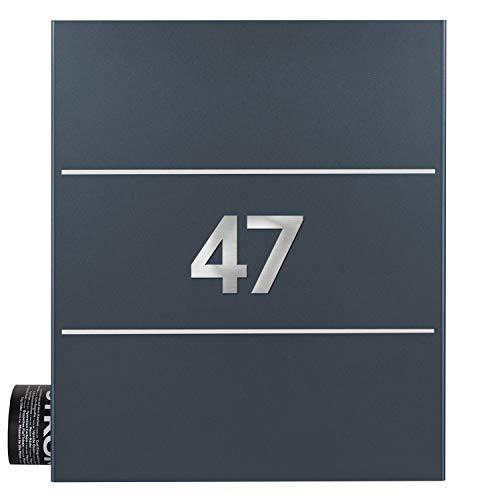 Briefkasten mit Zeitungsfach inkl. 2 Hausnummern anthrazit Edelstahl (ral 7016) MOCAVI Box 141 Postkasten groß modern Wandbriefkasten