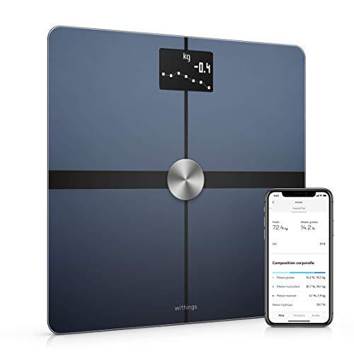 Withings Body+ - Balance Connectée WiFi et Bluetooth avec Analyse de la Composition Corporelle (Poids, Masse Grasse/Musculaire/Osseuse, d'Eau), Pèse Personne Impédancemètre Multi-Utilisateurs