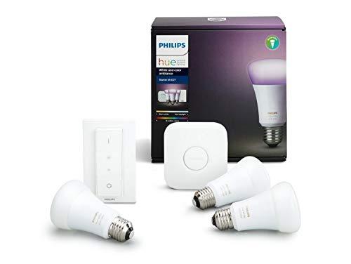 Philips Hue Kit de démarrage White and Color Ambiance 3 x E27 9.5 W [pont et interrupteur avec variateur inclus] - Fonctionne avec Alexa
