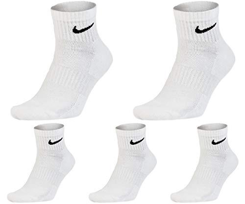 Nike - 5 paia di calzini corti, da uomo, da donna, colore: bianco/nero, taglia 34 / 36 / 38 / 40 / 42 / 44 / 46 / 48 / 50 bianco 42-46