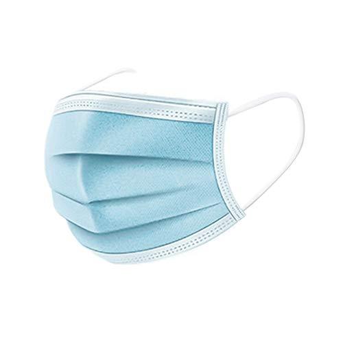 FengHP Visiera monouso Spessa 3 Strati Non Tessuto Antipolvere a Prova di Polvere Protezione antiappannamento facciale con Elastico Orecchio per Bambini Adulti