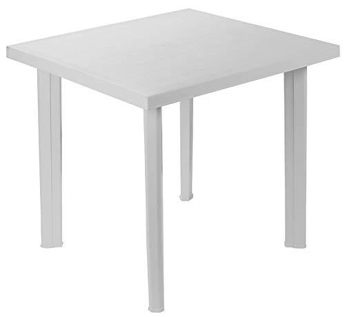 Tavolo tavolino Quadrato in Resina di plastica Bianco Fiocco per Esterno Interno Giardino Balcone