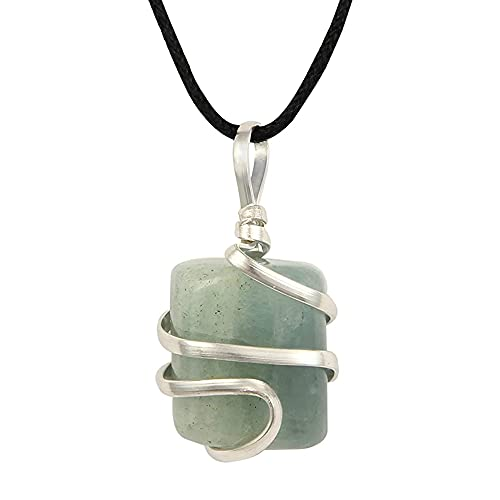 Aquamarine Gemstone Pendant Necklace - Natural Crystal...